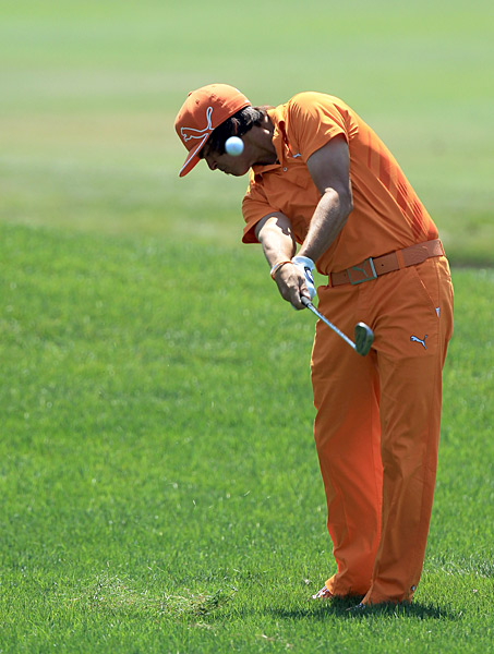 Rickie Fowler began the day five back of the lead but made a triple bogey on the 8th hole, ending his chances.