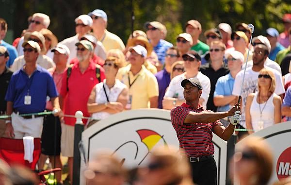 Even though he wasn't in contention, Woods had the largest crowd following him all day.