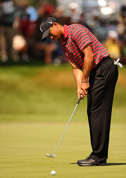 Tiger Woods played very well for most of the day, making it to four under at one point.