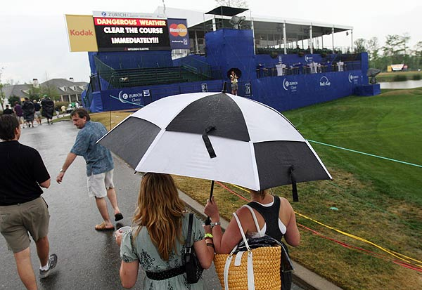 The tournament was suspended for the day at 1:48 p.m. EST due to inclement weather.