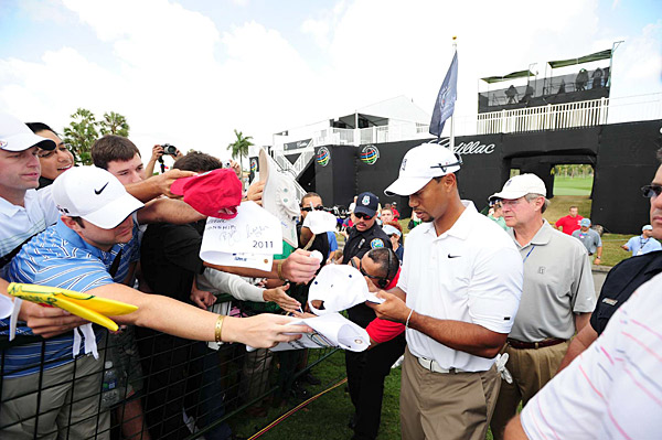 Woods also took some time to greet fans and sign autographs on Wednesday.