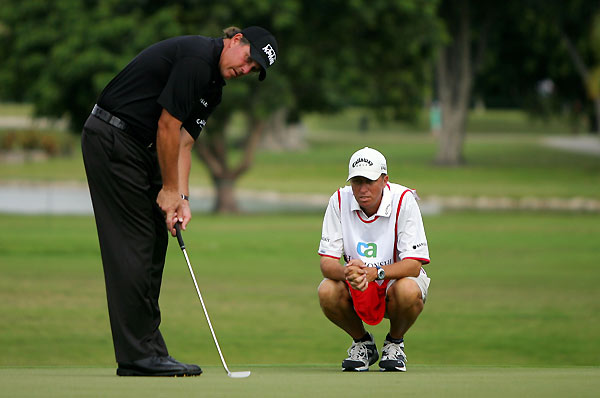 After a bogey on No. 1, Phil Mickelson made birdies on Nos. 4, 5, and 6. He is at five under par.