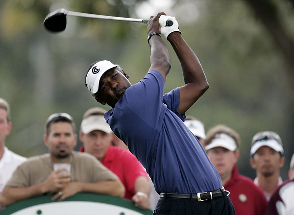 Vijay Singh surged up the leaderboard with eight birdies, one eagle, and one bogey.