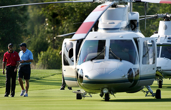 After winning the WGC-CA Championship this weekend, Tiger Woods and his caddie, Steve Williams, arrived in style to play the Tavistock Cup at Lake Nona in Orlando. The event matches members of Lake Nona Golf & Country Club against the Isleworth Country Club in a team match-play event. Woods is a member at Isleworth.