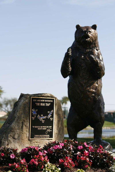 """Holes 15, 16 and 17 are known as """"The Bear Trap,"""" three of the toughest holes on the course."""