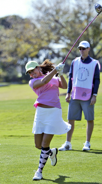 Liz Estes gave some extra effort off the tee.