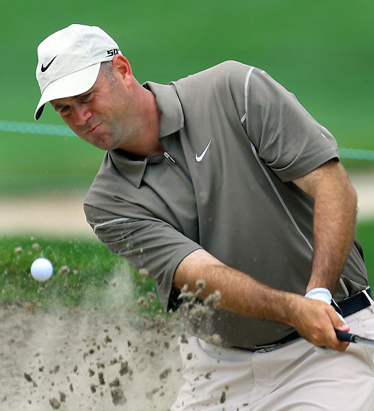 Stewart Cink made three bogeys and a birdie through eight holes.