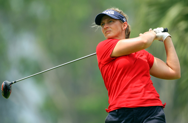 Angela Stanford has already won this year, and she will start the final round two shots behind Hull.