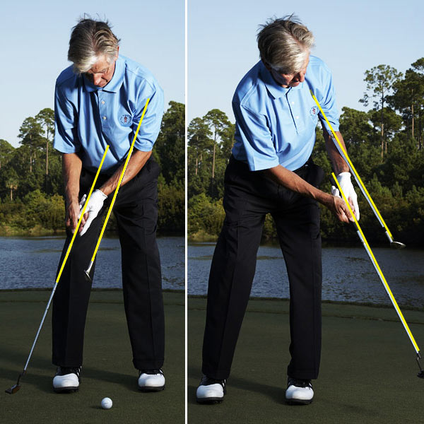 Now, make your stroke, taking care to keep the shafts the same distance away from each other and absolutely parallel from start to finish. This gives you the most solid contact possible. If you tend to jab putts with two much hand action, the shafts will cross.