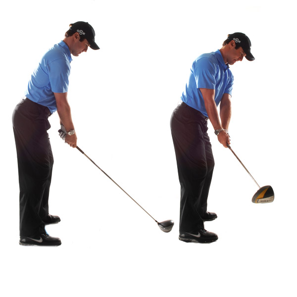 HOW TO BUILD TRUST IN YOUR TAKEAWAY                       Start everything back in one piece Notice in the sequence above how my shoulders, arms, clubhead, hips and knees have moved away from the ball as a single unit — nothing gets left behind. This is a natural swing. If you only move your shoulders, you're in danger of whipping the club to the inside. If you just move your arms, you'll tend to pick up the club and get too steep.