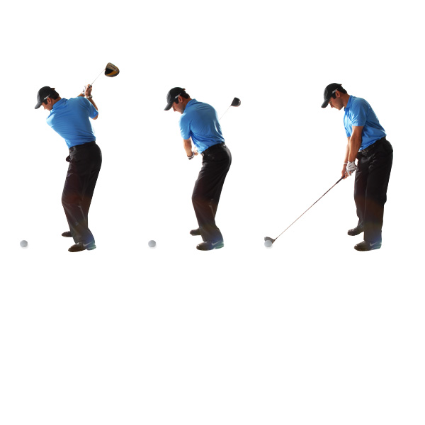 HOW TO BUILD TRUST IN YOUR IMPACT                           Get your right side on top of the ball Before I started driving the ball well, I used to ignore my right side. I'd pull down hard with my left side (I'm naturally left-handed) and the clubhead would almost always be late at impact. If you hit a lot of pushes or hooks, this is your culprit. Feel like your right shoulder is on top of the ball at impact.