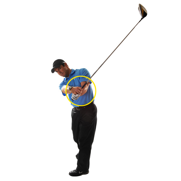 HOW TO BUILD TRUST IN YOUR FOLLOW-THROUGH                       Make sure the club swings you At this point in the swing, most of the dirty work is done. So, in a sense, I give up control because I don't want to feel like my body has to work to bring the club up into the finish. The feeling you're after is the club is pulling you past impact and into your follow-through, not the other way around.                                              TRUST THIS!                       If you properly release through impact, the momentum of your club will pull you into your follow-through.