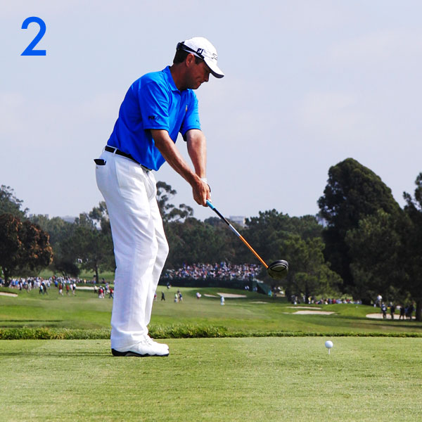 "2. Davis takes the club back low and wide with the clubhead outside his hands. This sweeping action helps keep his arms extended while allowing the top of his left arm to stay on his chest. His 6'3"" build and long arms promote a wide-arc swing.                                                      Clubhead stays outside his hand, upper left arm stays connected to his chest."