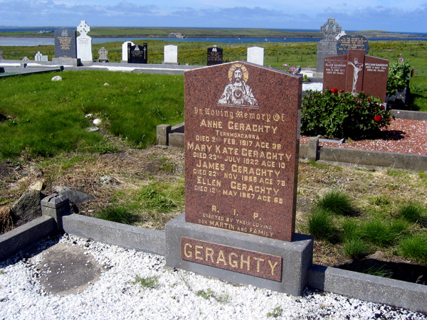 I'm a 15 handicap as a genealogist, but I collected plenty of memories, yarns and ghost stories from the Geraghty clan. This family plot at the seaside Termoncarra cemetery has a view to die for -- 360 degrees of lighthouses, farmhouses, mountains, fens, bays, banks and sandy beaches. On a clear day, you can see the seventeenth hole at Carne.
