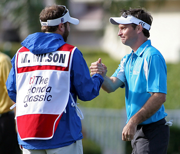 At the 2007 Honda Classic, Mark Wilson's caddie Chris Jones told a playing partner the loft of the club that Wilson had just used. In golf, no person other than his caddie is allowed to give a player advice. Wilson noticed his caddie's error, penalized himself two strokes, and went on to win anyway.