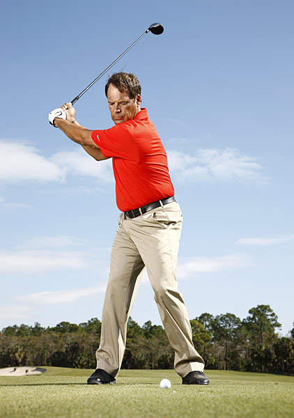 How to Play It                                                      To rip a fairway wood high and long, try the following:                           1. Set up with your head slightly behind the ball and your right shoulder a bit lower than normal. This position will help you create a high-trajectory shot that lands softly.                           2. Turn a bit further behind the ball than you would normally (move away from the target a bit in your backswing).                           3. Stay behind the ball through impact. These three simple adjustments will create a high, soft ball flight and allow you to hit and hold the green.