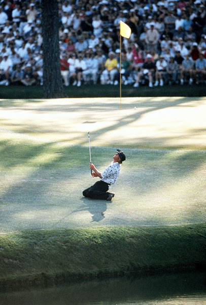 1996                           Nick Faldo vs. Greg Norman                           276-281                                                      For three rounds, Greg Norman dominated the 1996 Masters. He opened with a course record-tying 63 and added 69 and 71, for a six-shot lead over Nick Faldo. A slam-dunk win for the Shark, right? Wrong. On the final day, Norman bogeyed 9, 10 and 11, followed by a double bogey at 12 after his tee shot found the water. Suddenly, he trailed Faldo by two. They matched birdies at 13 and 15, but when Norman found the water at the par-3 16th, he was toast.