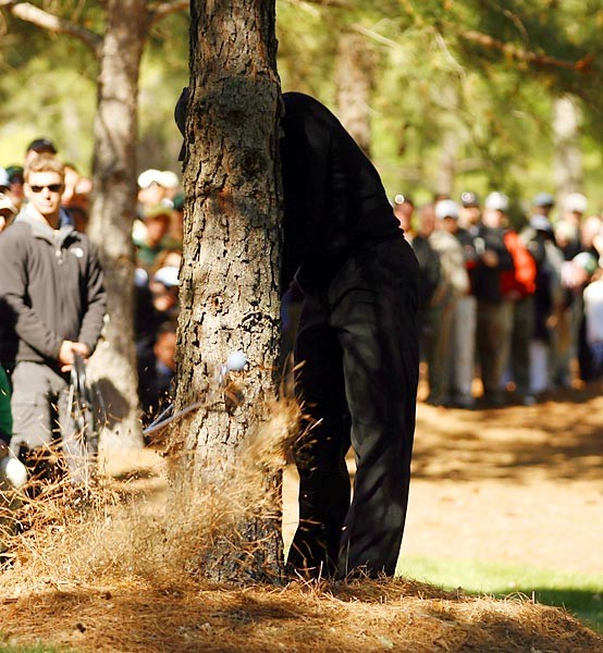 """""""Tiger's ball was in pine needles near a tree on Sunday (on 11). I wanted                             to capture the explosion of needles and the club hitting the tree. Thwack!                             Needles, dirt — and maybe some squirrel teeth — flew. Tiger released his 4-iron, glared at me, but I never got his face — he recoiled back too quickly. Darn it! The crowd gasped. Tiger picked up his bent club and                             snapped it. It was a lucky score. The next day there were messages on                             my phone from the office extolling the virtues of the image, and letting                             me know it was going to be our Masters cover.""""                                                          — Robert Beck for Sports Illustrated"""