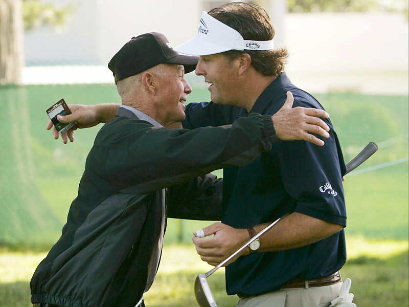 Phil and Phil Mickelson Sr.                                   Phil Mickelson Sr. found time during his career as an airline pilot to teach his son the game.