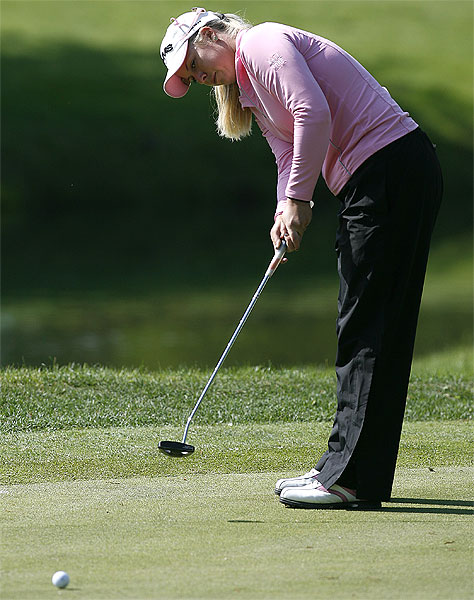 Brittany Lincicome eagled two of the par-5s Thursday. She finished at 4 under par.