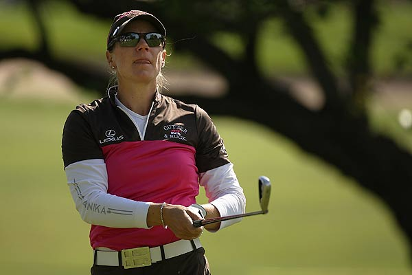 Annika Sorenstam, who announced her retirement this week, finished at five under par.