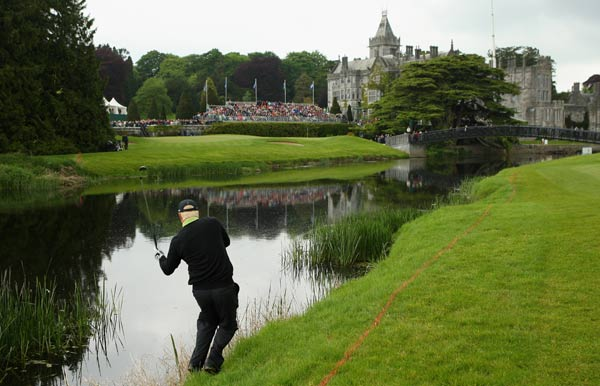 Irish Open champ falls into a river                       Richard Finch was playing his third shot from the rough beside the 18th green next to the River Maigue when the momentum of his swing caused him to fall into the water.