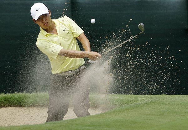 Anthony Kim double-bogeyed the par-3 13th hole. He is at one under par.