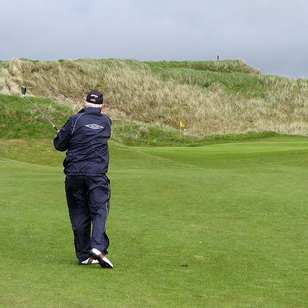 Jim Coyne takes a swing at Enniscrone.
