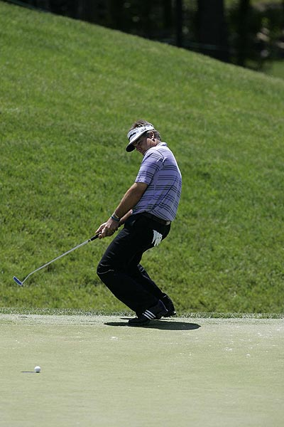 Perry missed a birdie putt on the 17th hole.