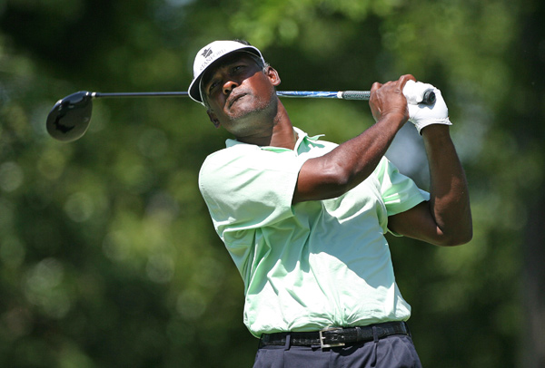 Vijay Singh is only two shots behind after a bogey-free 64.
