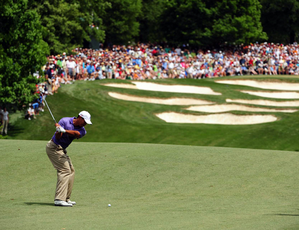 Third Round of the Quail Hollow Championship                                                      Tiger Woods had another rough finish with bogeys on 17 and 18. He'll start the final round two strokes back.