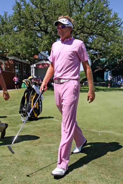 Ian Poulter was one of several players who wore pink on Saturday to raise awareness for breast cancer. Amy Mickelson was diagnosed with breast cancer last week.