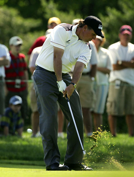 Phil Mickelson ended his first nine with a double bogey and a bogey. He shot a three-under 33 on the second nine.