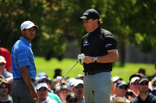 The 2008 U.S. Open was held at Torrey Pines, where Mickelson and Woods had both won tournaments. The hype was intensified when they were paired together for the first two rounds. Mickelson faded quickly, shooting 71-75. Woods, playing with a torn ligament in his left knee and a stress fracture in his left leg, gutted out one of the most impressive wins in major championship history. He made a birdie on the 72nd hole to tie Rocco Mediate, then won a 19-hole Monday playoff.