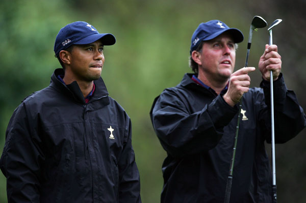 "In 2003, the focus of their rivalry turned to equipment. Mickelson said in a Golf Magazine interview that Woods was playing with ""inferior equipment.""                                              ""In my mind, Tiger and I don't have issues between us,"" Mickelson said. ""Well, maybe one. He hates that I can fly it past him now. He has a faster swing speed than I do, but he has inferior equipment. Tiger is the only player who is good enough to overcome the equipment he's stuck with."""