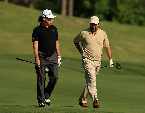 Jose Maria Olazabal, right, who tied for third last year, played with Miguel Angel Jimenez on Wednesday.