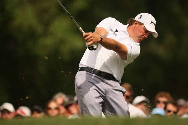 Phil Mickelson made a double bogey on the par-3 17th and finished with a 74.