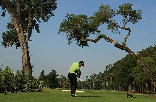 Padraig Harrington opened his round with back-to-back birdies. He is at even par.