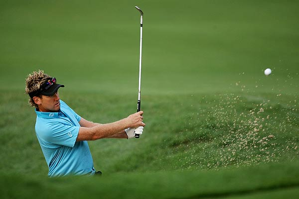 Ian Poulter ended his first-round 69 with a birdie. He is at three under par.