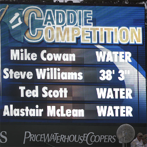 The results of the Caddie Competition were displayed during the Wednesday practice round.