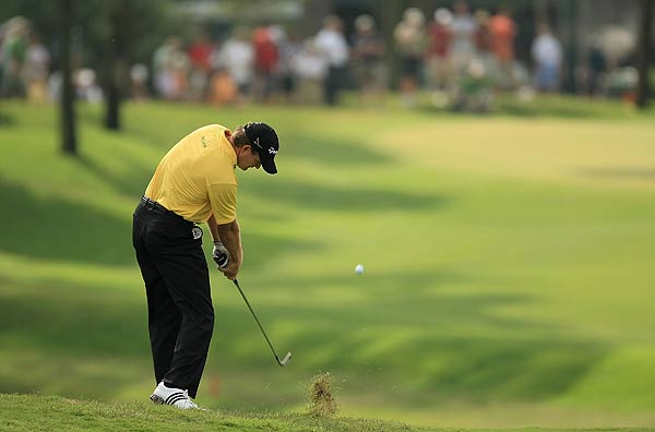 Retief Goosen's two birdies and one bogey in the second round left him at even par heading into the weekend.