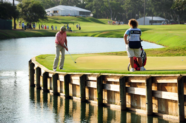 Henrik Stenson's ball nearly went into the water on 16. He finished at six under par.