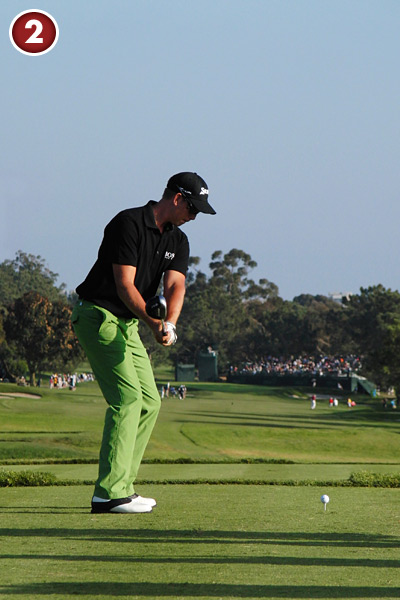 2. Stenson starts his motion by swinging his arms away from the ball without turning his hips. He's already building resistance with his lower body. This only works if you swing back on plane, not inside.