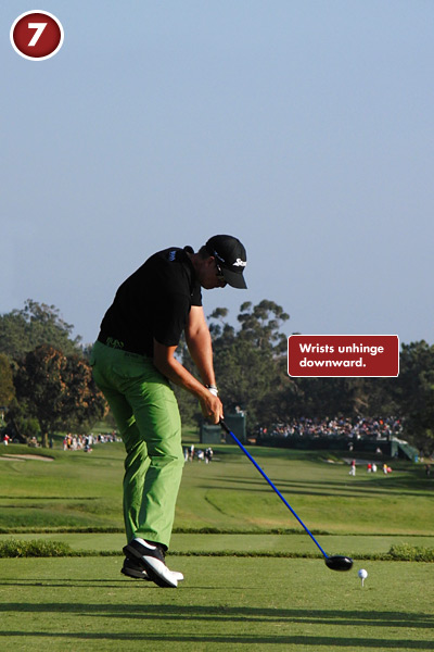 7. Compare Henrik's wrist hinge in Frame 6 with the one shown here: it has all but disappeared. Stenson does this the right way, by unhinging his wrists downward, not by flipping his right hand over his left.