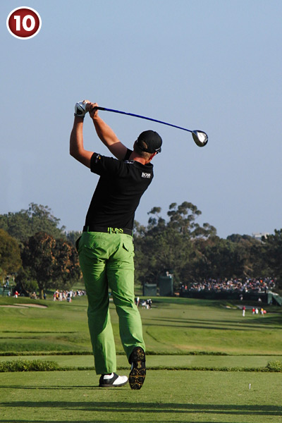 10. Stenson's arm swing and lower-body action come together nicely in his finish. His arms are in front of his body, which never stopped rotating from the top. This is the dynamic blend every golfer needs.