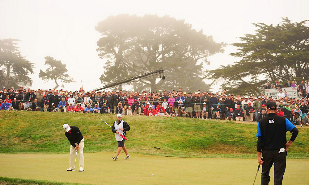 At the 2012 U.S. Open at Olympic, McDowell was tied for the lead heading into the final round, but he missed a long birdie putt on the 18th hole to lose to Webb Simpson by one shot.