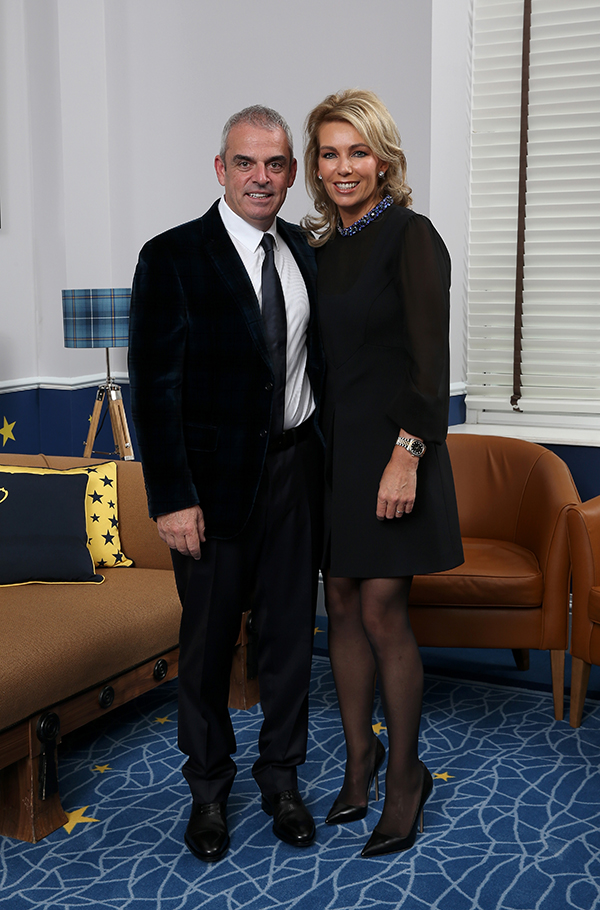 Europe team captain Paul McGinley and his wife Allison McGinley pose for a photograph.