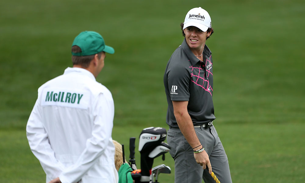 Rory McIlroy and his caddie J.P. Fitzgerald during his practice round Tuesday.