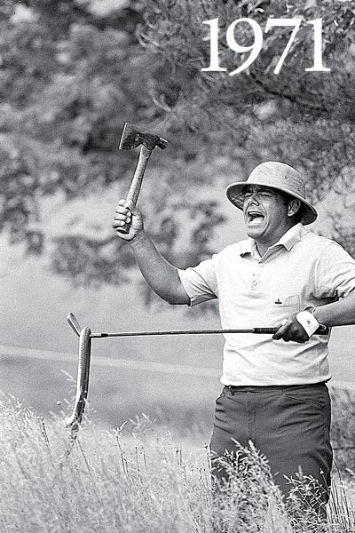"On the morning of his scheduled 18-hole playoff with Jack Nicklaus at Merion, Lee Trevino throws a rubber snake on the tee box. ""People talk about me playing a trick on Jack,"" Trevino says. ""No, no. Sports Illustrated had bought this. We were posing at the beginning of the week to show how high the rough was. They brought me the hatchet and the safari hat and the snake. When we were done, I stuck the snake in my bag. When I got out to play on Monday, I pulled out the snake and Nicklaus said, 'Throw it over here.' So I threw it over."""