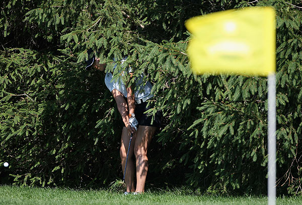 Wie, who found herself in the trees on 16, is still searching for her first win on tour.